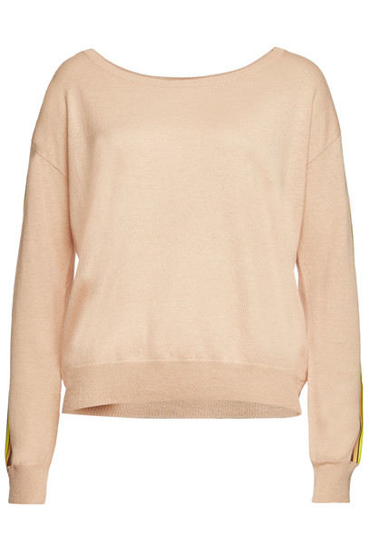 Closed Pullover with Linen and Cotton  in beige