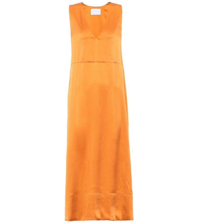 Asceno Silk midi dress in orange