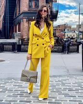 pants,wide-leg pants,yellow,blazer,matching set,spring outfits