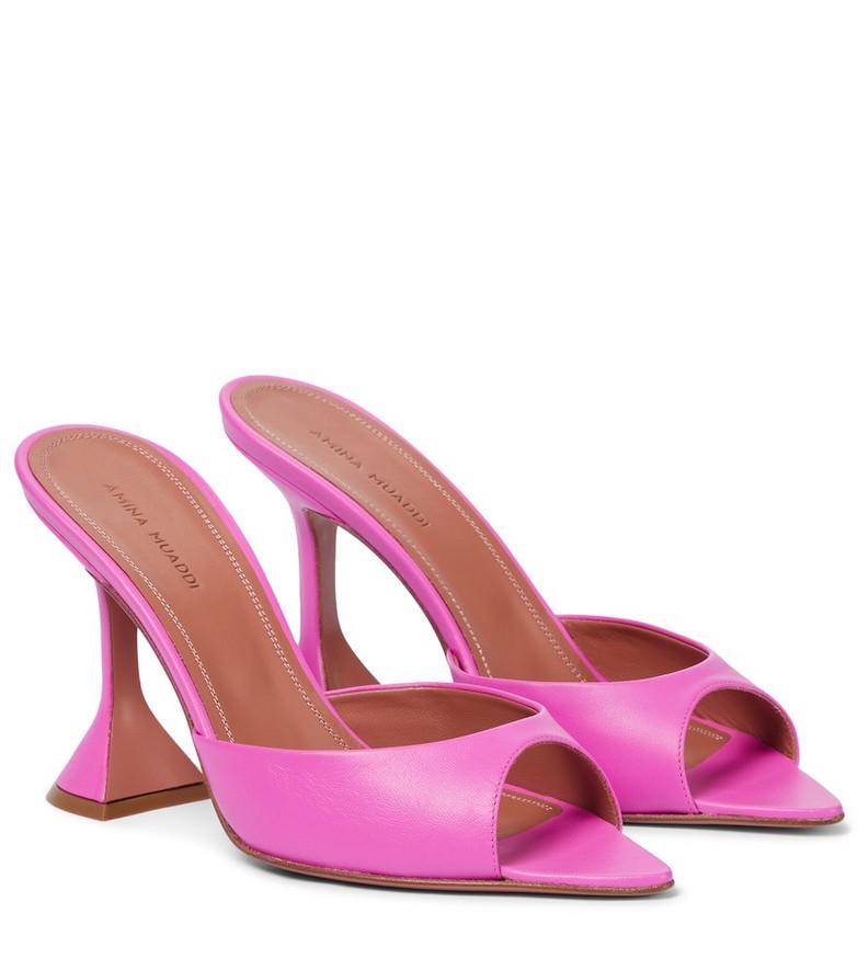 Amina Muaddi Caroline leather sandals in pink