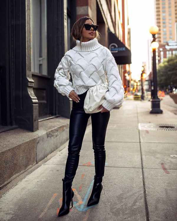 pants black leather pants black boots ankle boots turtleneck sweater cable knit white bag