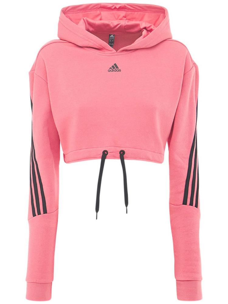 ADIDAS PERFORMANCE Cropped Sweatshirt Hoodie in black / rose