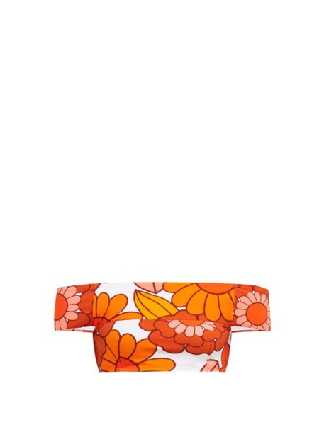 Dodo Bar Or - Ceccile Floral Print Stretch Jersey Bikini Top - Womens - Orange Print