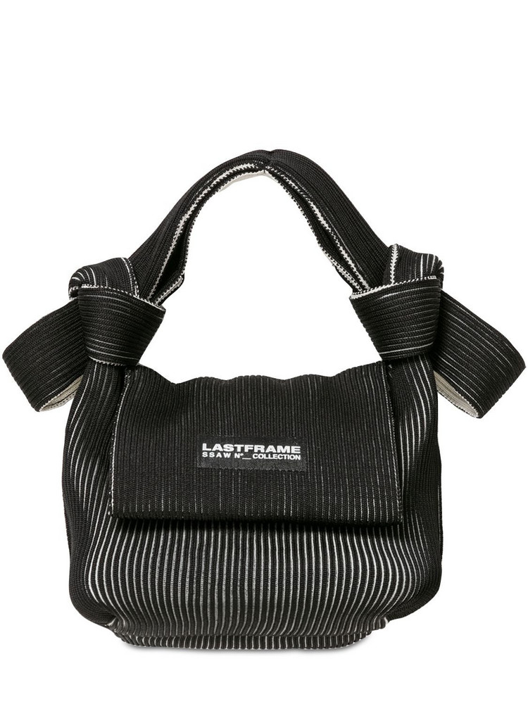 LASTFRAME Two Tone Rib-knit Obi Top Handle Bag in black / ivory