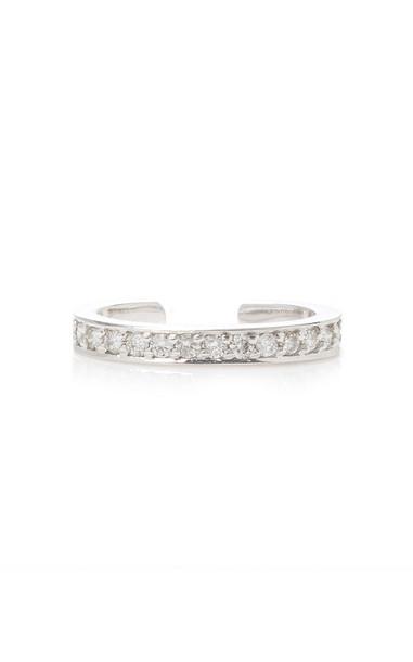 Anita Ko Single Row Diamond Ear Cuff in White Gold in silver