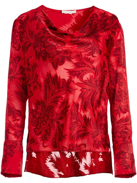 Alice+Olivia Anna shirt in red