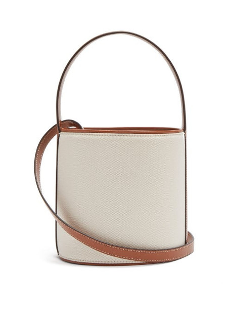 Staud - Bisset Canvas And Leather Bucket Bag - Womens - Beige Multi