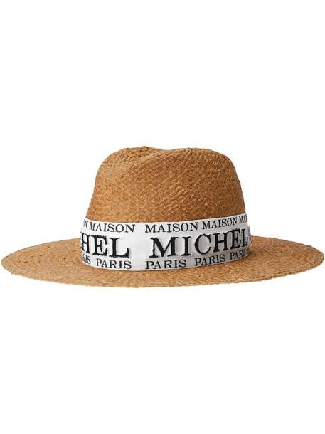 Maison Michel Zango logo-embroidered fedora in neutrals