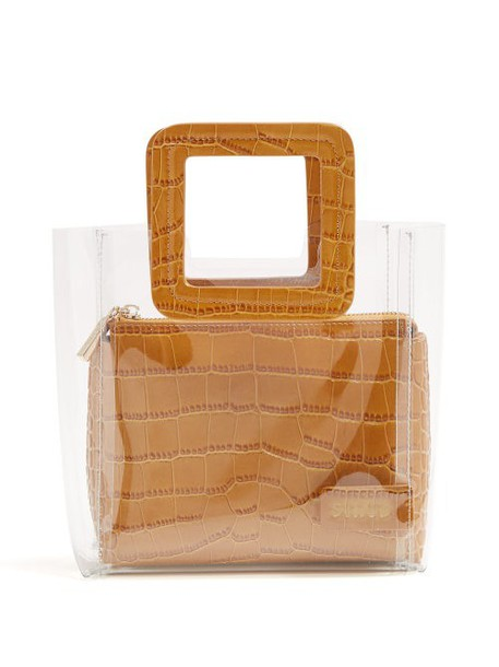 Staud - Mini Shirley Leather & Pvc Tote Bag - Womens - Tan