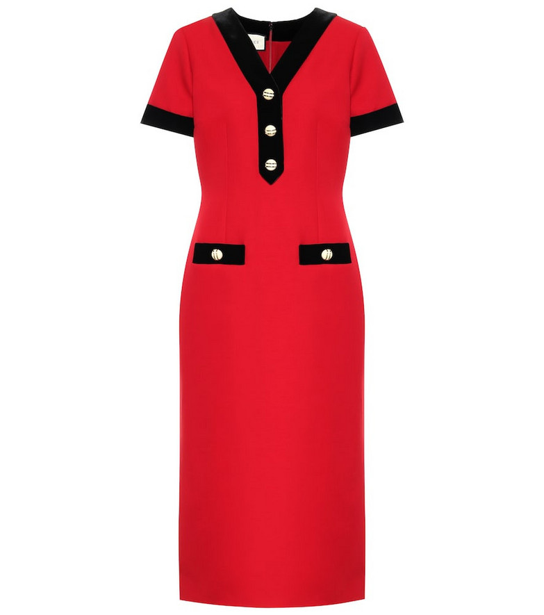 Gucci Wool and silk midi dress in red
