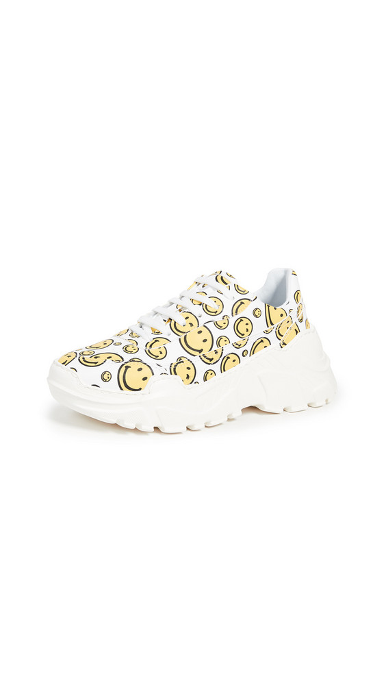 Joshua Sanders Zenith All Over Smile Sneakers in white / yellow