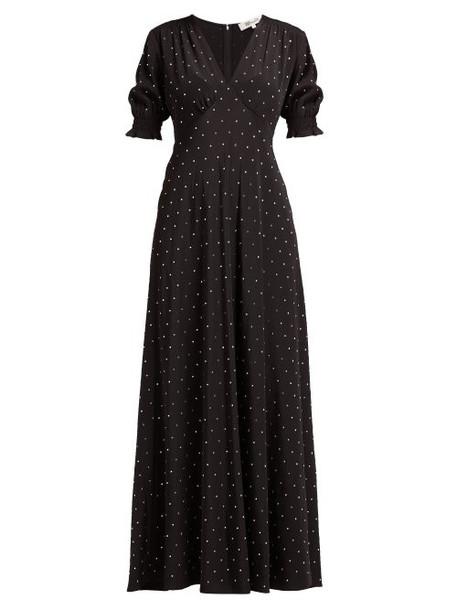 Diane Von Furstenberg - Avianna Crystal Embellished Silk Maxi Dress - Womens - Black
