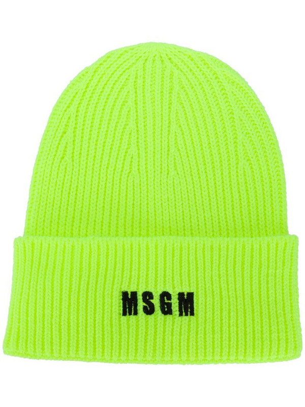 MSGM embroidered mini logo beanie in yellow