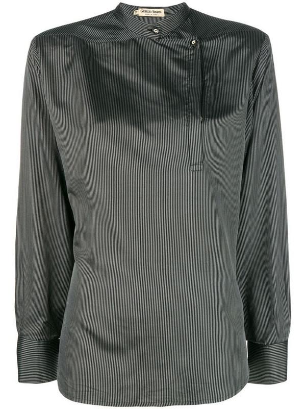 Giorgio Armani Pre-Owned mandarin collar striped blouse in black