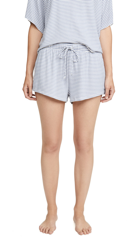 Eberjey Sadie Stripes Sport Shorts in blue / ivory