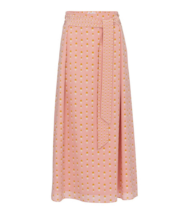 Loro Piana Elien high-rise belted midi skirt in pink