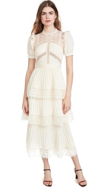Self Portrait Lace Trim Midi Dress in cream