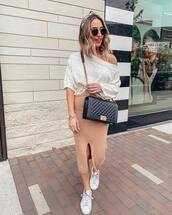 skirt,midi skirt,slit skirt,white sneakers,black bag,white sweater,off the shoulder