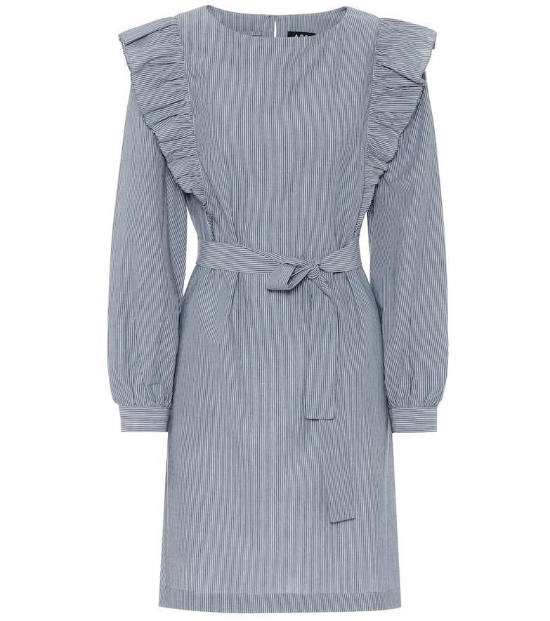 A.P.C. Tess striped cotton dress in blue