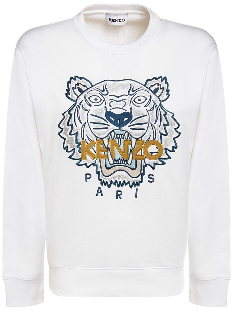 KENZO Classic Tiger Logo Cotton Sweatshirt in white