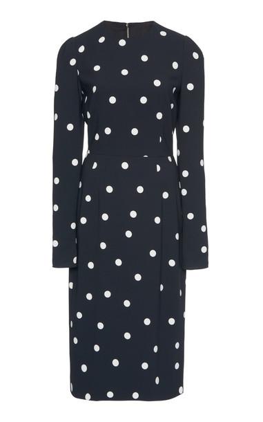 Dolce & Gabbana Crazy For Sicily Polka-Dot Crepe Midi Dress Size: 36