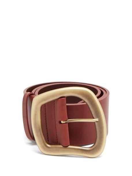 Gabriela Hearst - Simone Asymmetric-buckle Leather Belt - Womens - Burgundy