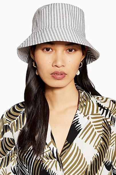 Topshop Twill Stripe Bucket Hat - Multi