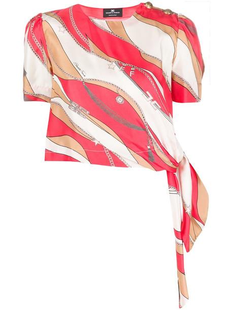 Elisabetta Franchi scarf tie chain-print silk top in pink