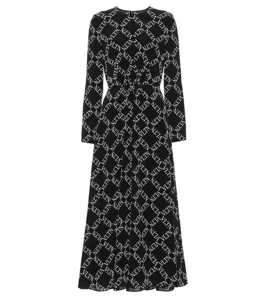 Valentino VLTN silk midi dress in black