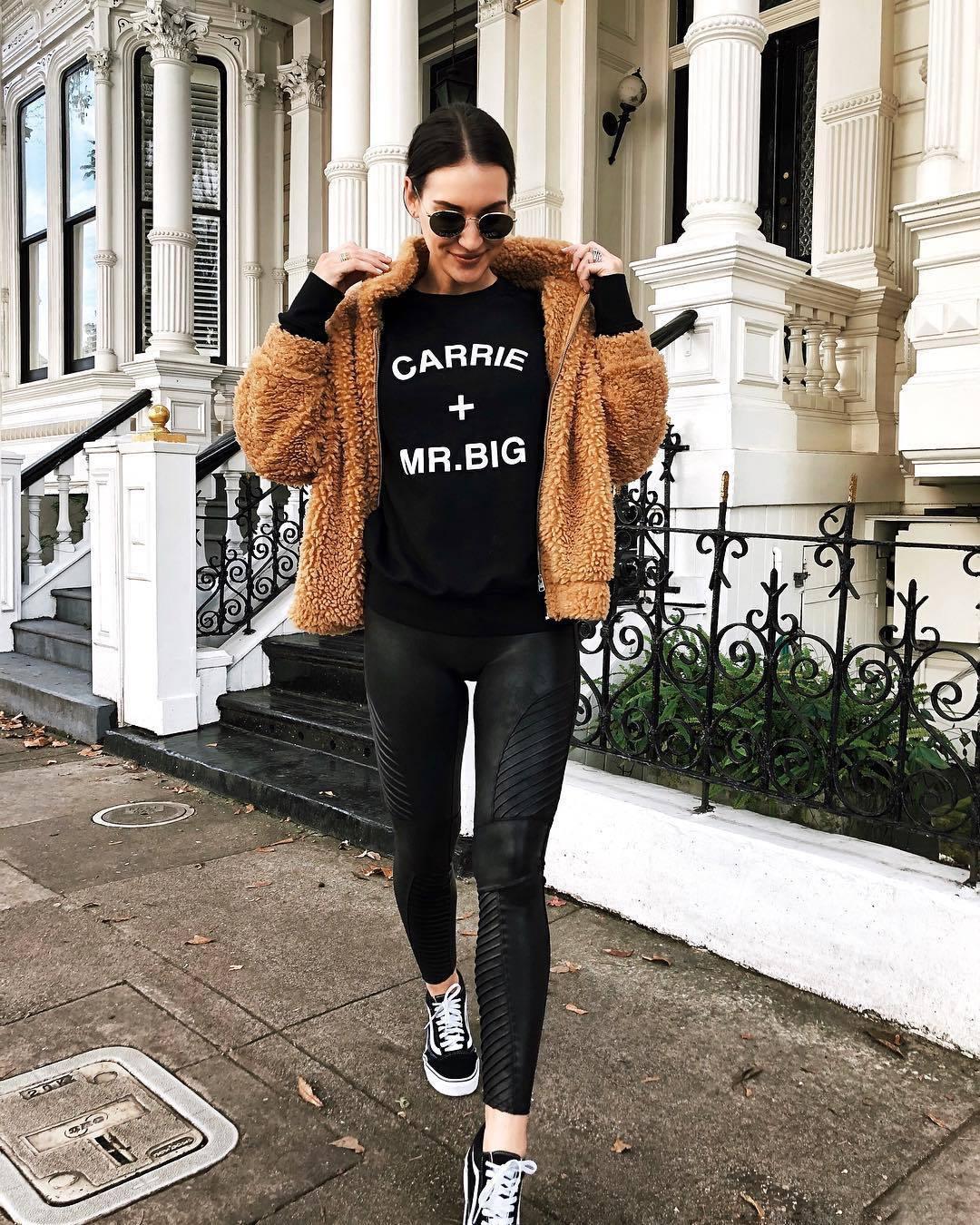 pants leather leggings black leggings black sweater teddy jacket black sneakers vans coat mustard