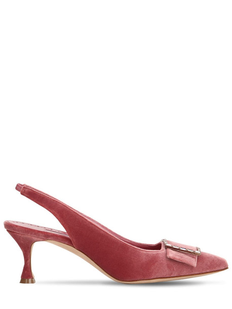 MANOLO BLAHNIK 50mm Dolores Embellished Velvet Pumps in pink