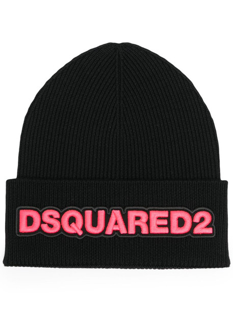 Dsquared2 logo embroidered beanie in black