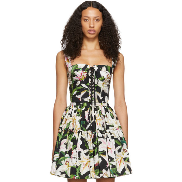 Dolce and Gabbana Black and Green Lilium Flowers Bustier Tank Top