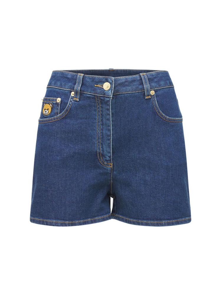 MOSCHINO Cotton Denim Shorts W/bear Patch