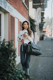 not jess fashion,blogger,sweater,bag,belt,white sweater,winter outfits