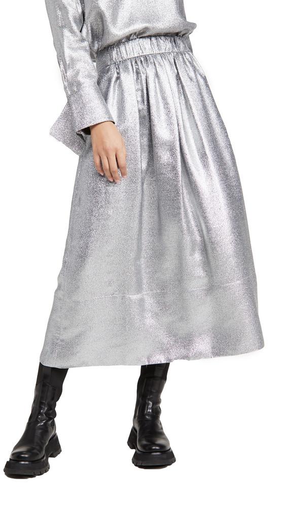 Tibi Smocking Waistband Full Skirt in silver