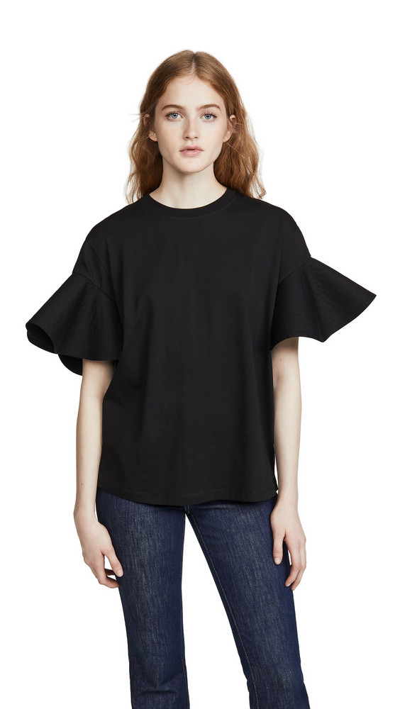 Victoria Victoria Beckham Flounce Sleeve T-Shirt in black