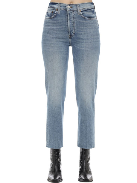 RE DONE High Rise Stove Pipe Stretch Denim Jeans in blue