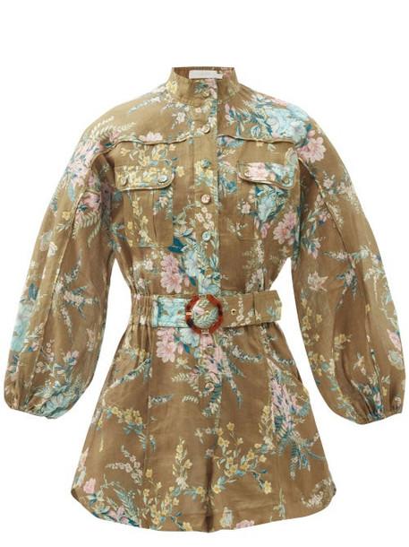 Zimmermann - Cassia Floral-print Belted Linen Playsuit - Womens - Green Print