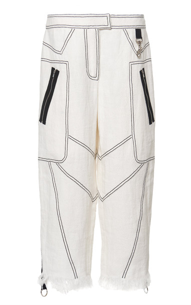 Andrew Gn Contrast Stitch Fringed Culottes in black / white