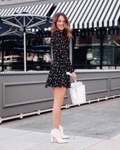 dress,black dress,mini dress,floral dress,long sleeve dress,white boots,ankle boots,white bag