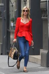 top,nicky hilton,celebrity,denim,blouse,asymmetrical top,asymmetrical,red