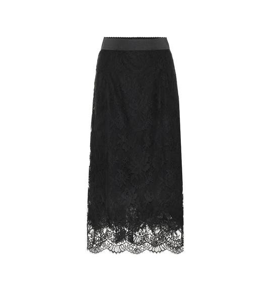 Dolce & Gabbana Lace midi skirt in black