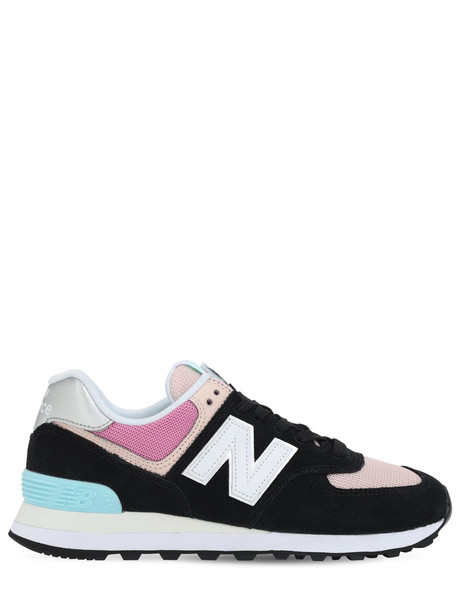 NEW BALANCE 574 Suede & Mesh Sneakers in black / pink