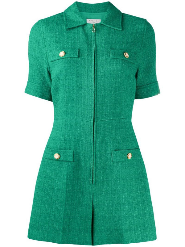 Sandro Paris Jacky short sleeve playsuit in green
