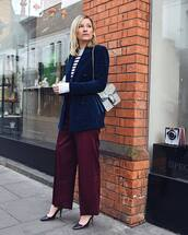 pants,high waisted pants,pleated,pumps,double breasted,blazer,gucci bag,striped sweater