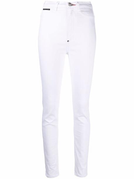 Philipp Plein high-waist jegging jeans - White