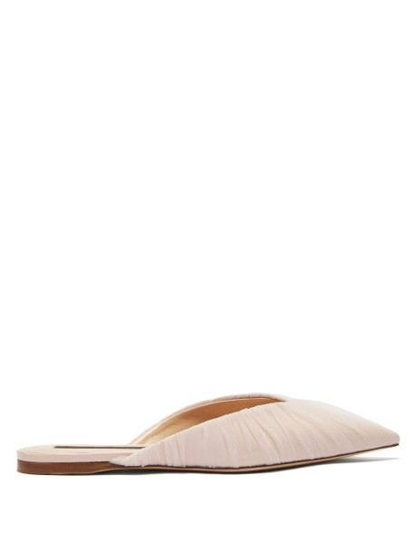 Midnight 00 - Tulle-covered Patent-leather Mules - Womens - Pink