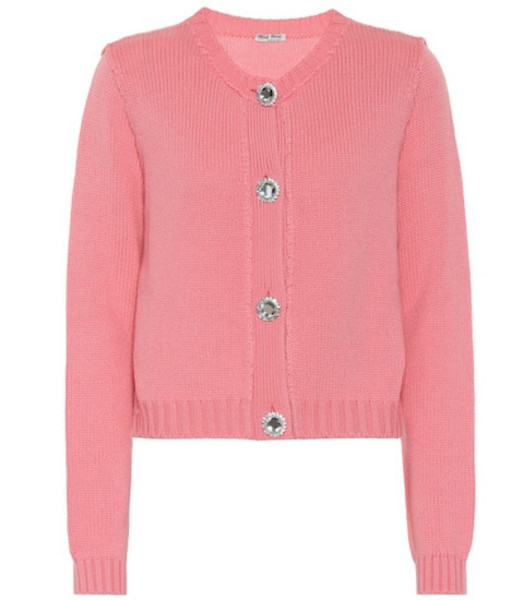 Miu Miu Embellished cashmere cardigan in pink
