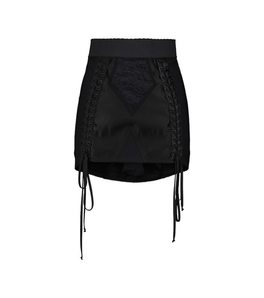 Dolce & Gabbana Lace-detail high-rise miniskirt in black
